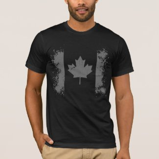 Silver Canada Grunge Flag T-Shirt