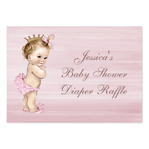 Vintage Princess Baby Shower Diaper Raffle Large Business Cards (Pack Of 100)