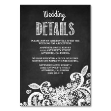Chalkboard + Lace Wedding Reception Insert Cards