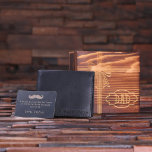 "Engraved Gift Set with Black Leather Men's Wallet<br><div class=""desc"">Limited Edition men's leather wallet with metal wallet message card for Father's Day. Wood box engraved in a ribbon pattern which is further personalized with a plaque shape design.</div>"