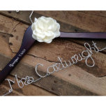 """Elegant Satin Flower Bridal Wedding Hanger<br><div class=""""desc"""">A bride hanger makes a beautiful wedding keepsake. These personalized wooden dress hangers are perfect to hang your wedding dress on,  and they make fantastic photo props for your wedding day! You spent forever finding THE DRESS,  now it deserves a special hanger!</div>"""