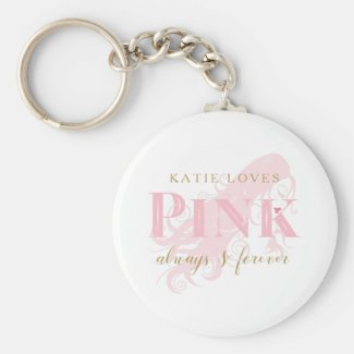 Girly Love Pink Forever Woman Silhouette and Name Keychain