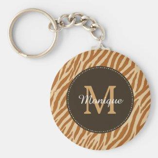 Stylish Tawny Brown Zebra Print Monogram and Name Keychain