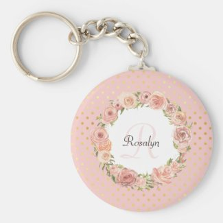 Romantic Gold Dotted Rose Floral Monogrammed Name Keychain