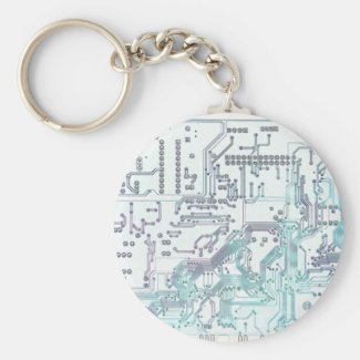 electronic circuit basic round button keychain