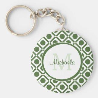 Modern Green and White Geometric Monogrammed Name Keychain