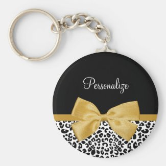 Girly Leopard Print Chic Gold Bow With Name Keychain
