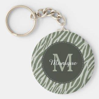 Stylish Sage Green Zebra Print Monogram and Name Keychain
