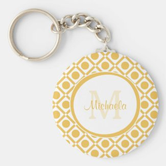 Modern Yellow and White Geometric Monogrammed Name Keychain