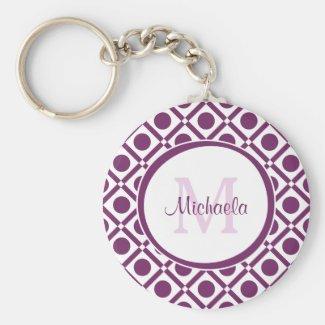 Modern Purple and White Geometric Monogrammed Name Keychain