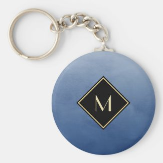 Elegant Brushed Blue With Simple Gold Monogram Keychain