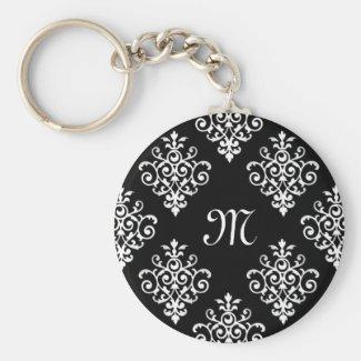 Elegant Monogrammed Black and White Damask Pattern Keychain