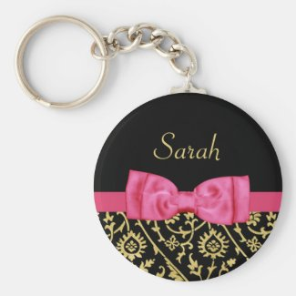 Black Gold Floral Damask Pink Bow and Chic Name Keychain