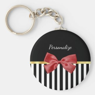 Classy Red Bow Black and White Stripes With Name Keychain