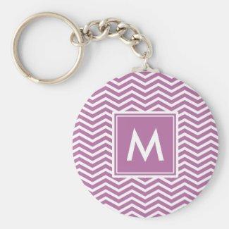 Modern Bodacious Purple Chevrons With Monogram Keychain