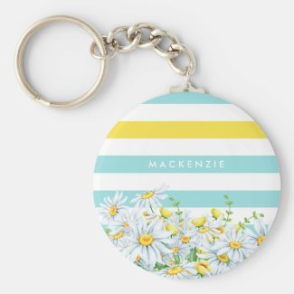 Girly Aqua Stripes With Yellow Daisies and Name Keychain
