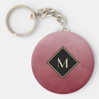 Elegant Brushed Red With Simple Gold Monogram Keychain