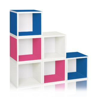 Blue, White and Pink Way Basics Storage Cubes
