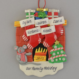 Fireplace (5) Stockings Personalized Ornament