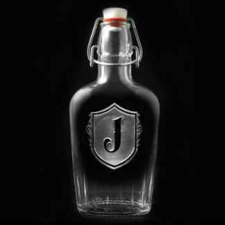 Monogram Glass Flask with Shield