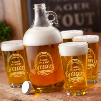 Personalized Brewery Growler Set in Gold
