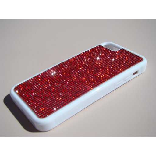 iPhone 5c White Rubber Case - Red Crystals