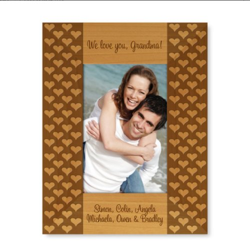 Engraved Love Hearts 9x7 Wooden Picture Frame