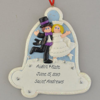 Wedding Bell Blonde Bride and Groom Ornament