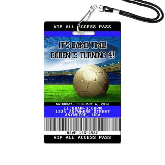 Soccer Birthday Invitations - Plastic VIP Pass