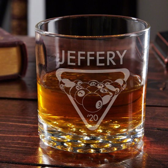 Billiard Balls Etched Whiskey Billiard Glass