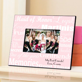 White on Pink Personalized Maid of Honor Frame Picture Frame