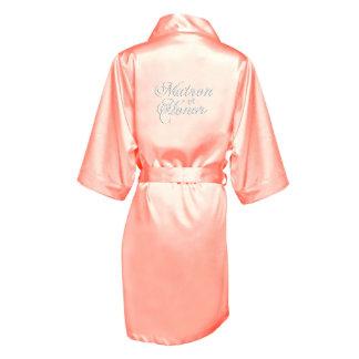 "Pink Satin Robe w/ Title ""Matron of Honor"""