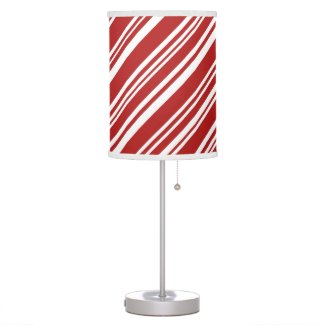 Peppermint Candy Stripes, Red and White Desk Lamp