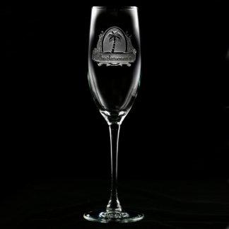 Flauta de champán personalizada paraíso tropical