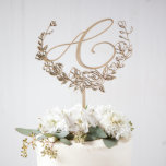 """Beautiful Decorative Monogram Floral Cake Topper<br><div class=""""desc"""">These statement monogram cake toppers are the perfect final touch to your wedding cake! Features a delicate calligraphy initial and our original,  hand-drawn floral illustration.  Our cake toppers are crafted by hand to be an heirloom keepsake.</div>"""