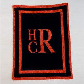 Monogrammed Country Navy & Orange, Stacked Blanket