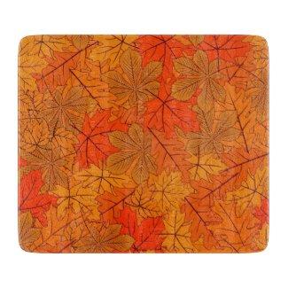 Autumn Leaves Decorative Glass Cutting Board
