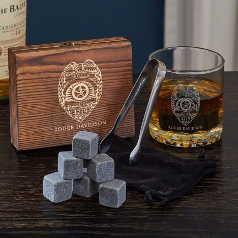 Engraved Police Badge Set With Whiskey Glass