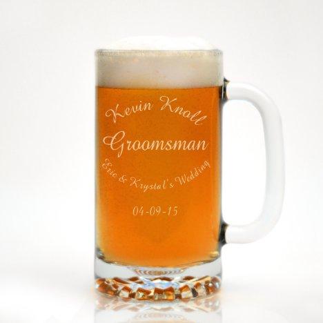 Custom Engraved Arced Text Beer Mug