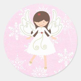 Pretty Pink Christmas Angel Sticker