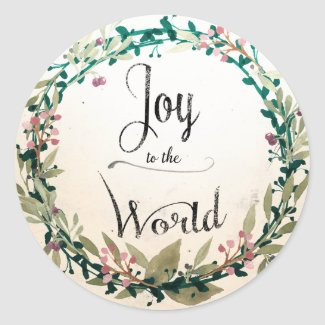 Watercolor Woodland Wreath Joy to the World Classic Round Sticker