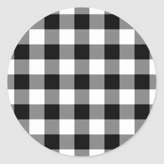 Black and White Gingham Pattern Classic Round Sticker