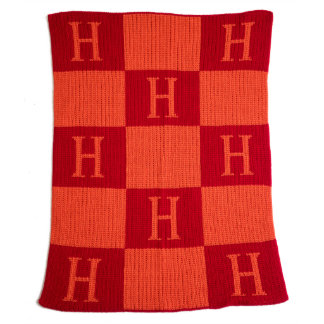 """Personalized Checkerboard """"H"""" Throw Blanket"""