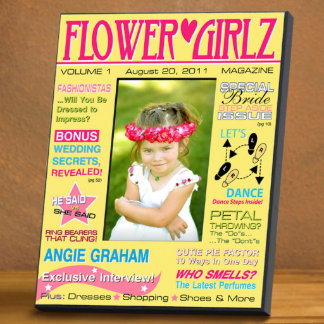 Yellow Personalized Flower Girl Magazine Frame Picture Frame