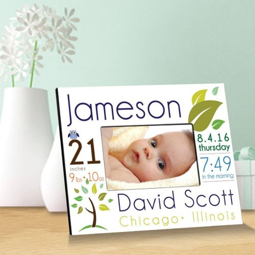 Elegant Blue Baby Boy Announcement Picture Frame