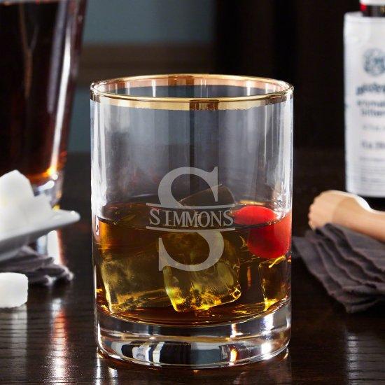 Engraved Oakmont Monogram Gold Rim Whiskey Glass
