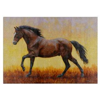 Dark Bay Stallion Horse Galloping Cutting Board