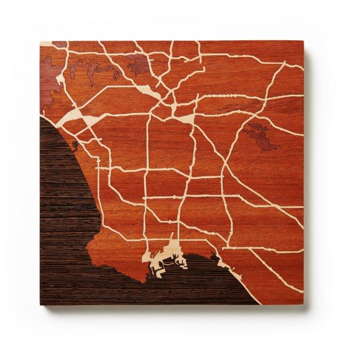 Los Ángeles, CA por los mapas del grabar en madera