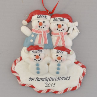 Snowfamily of Four Red White and Blue Ornament
