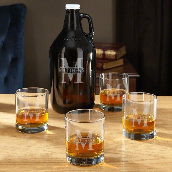 Engraved Oakmont Whiskey Rocks Glasses & Growler